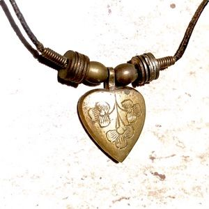 """Brass Heart Pendant & Leather Cord Necklace 17"""""""